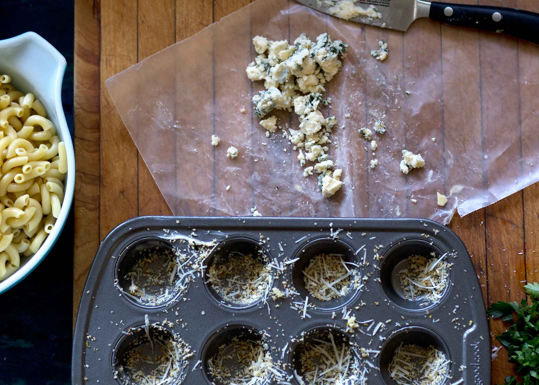blue cheese macaroni bites with buffalo dipping sauce prepped muffin tins