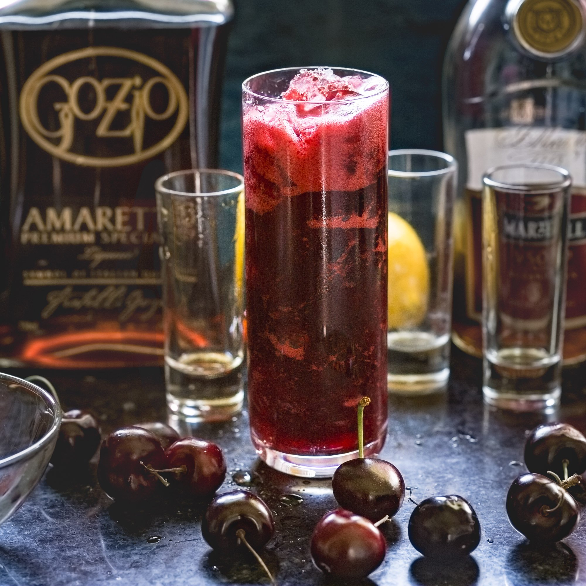 Cherry Amaretto Sidecar Cocktail|www.recipefiction.com