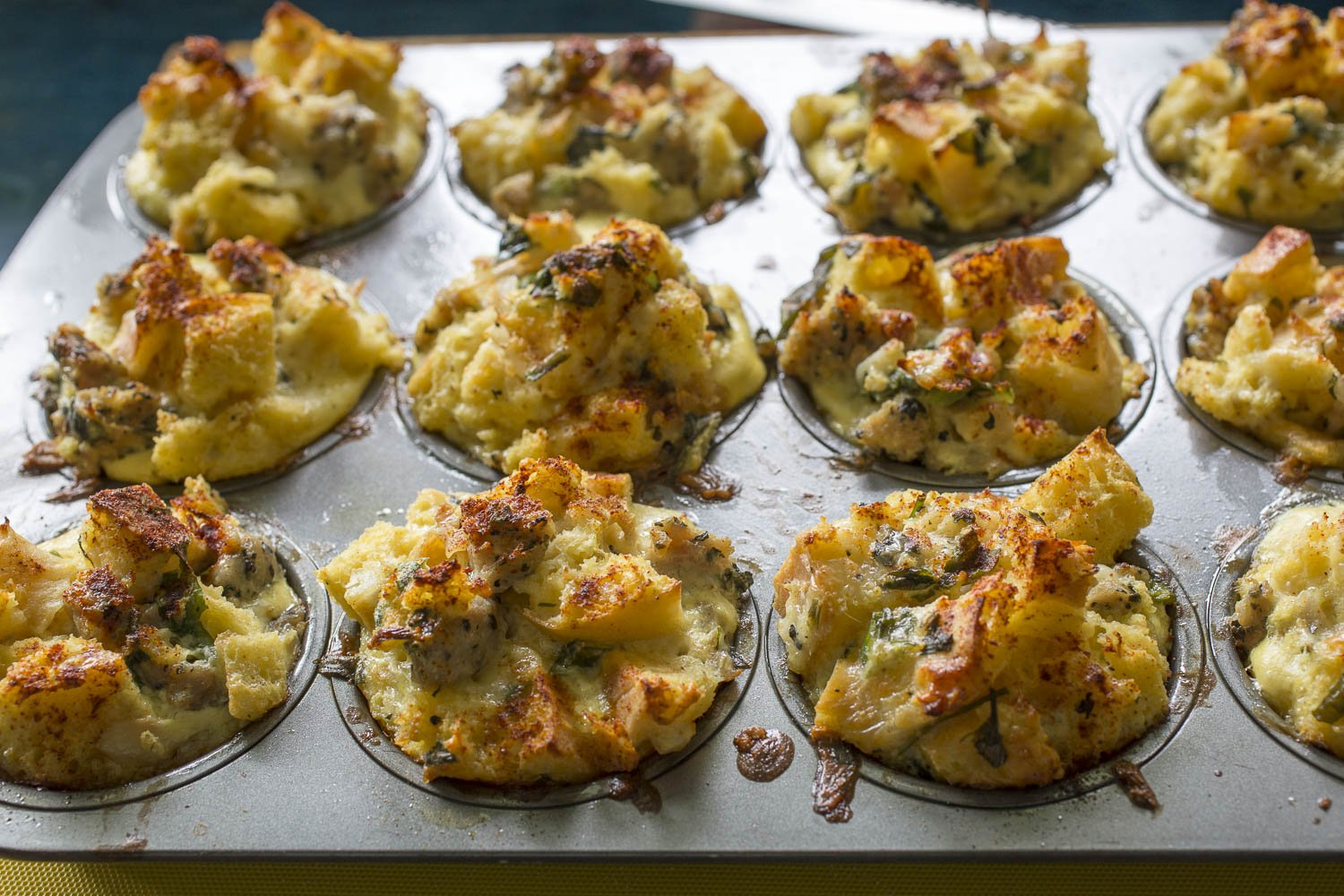 Savory French Toast Muffins Stratta just baked|www.recipefiction.com