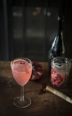 """Old Fashioned GF Experience"" fresh grapefruit pomegranate prosecco cocktail"