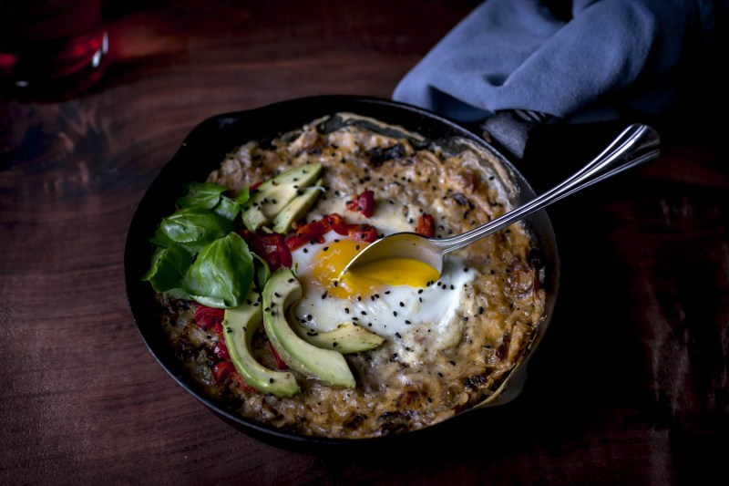 Cast Iron Savory Baked Oats- the bacon edition