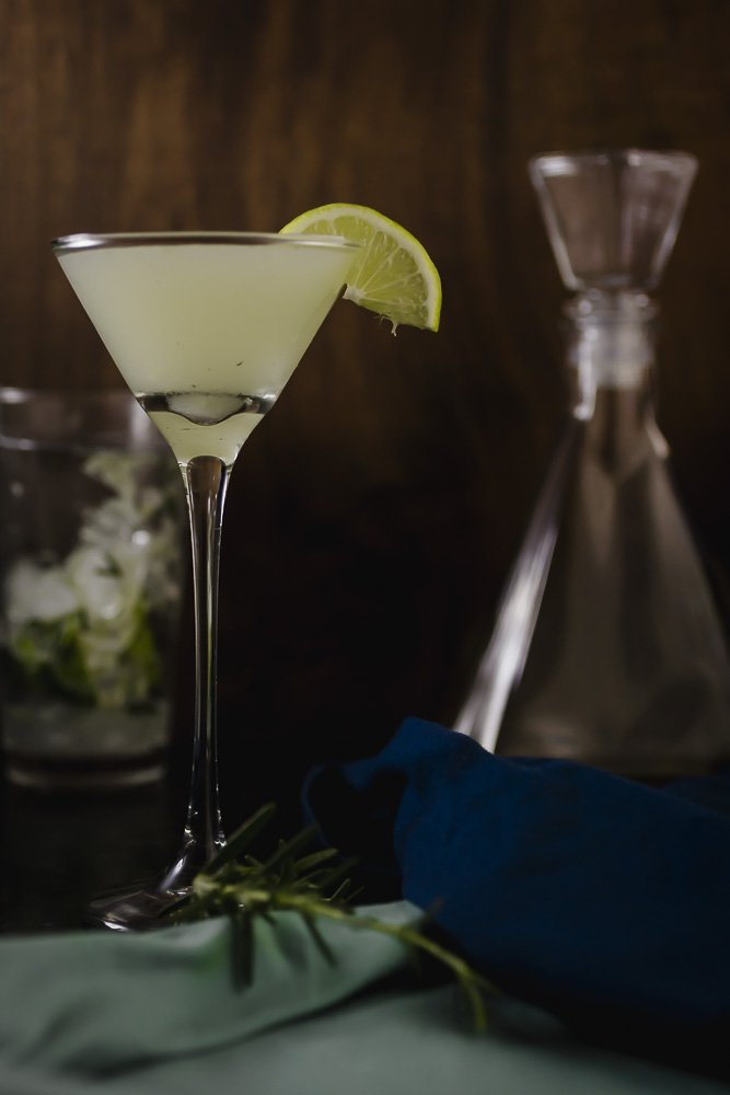 Bottoms Up Killer! A winter gimlet with fresh lime and rosemary