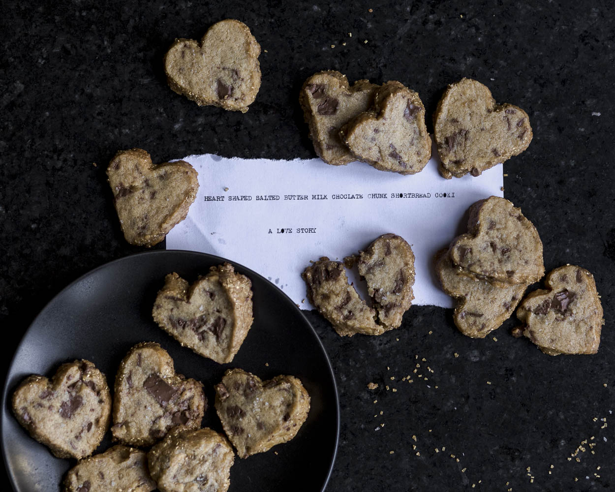heart shaped, salted butter, milk chocolate chunk, shortbread cookies