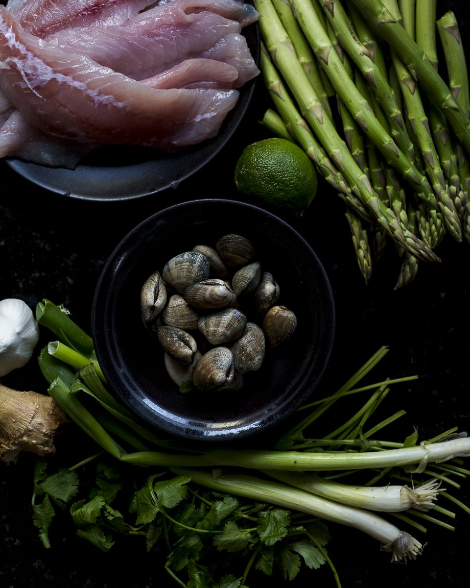 ingredients for Coconut Curry Seafood Chowder with rockfish and manilla clams