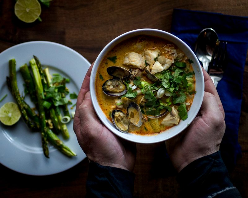 Coconut Curry Seafood Chowder with rockfish and manilla clams