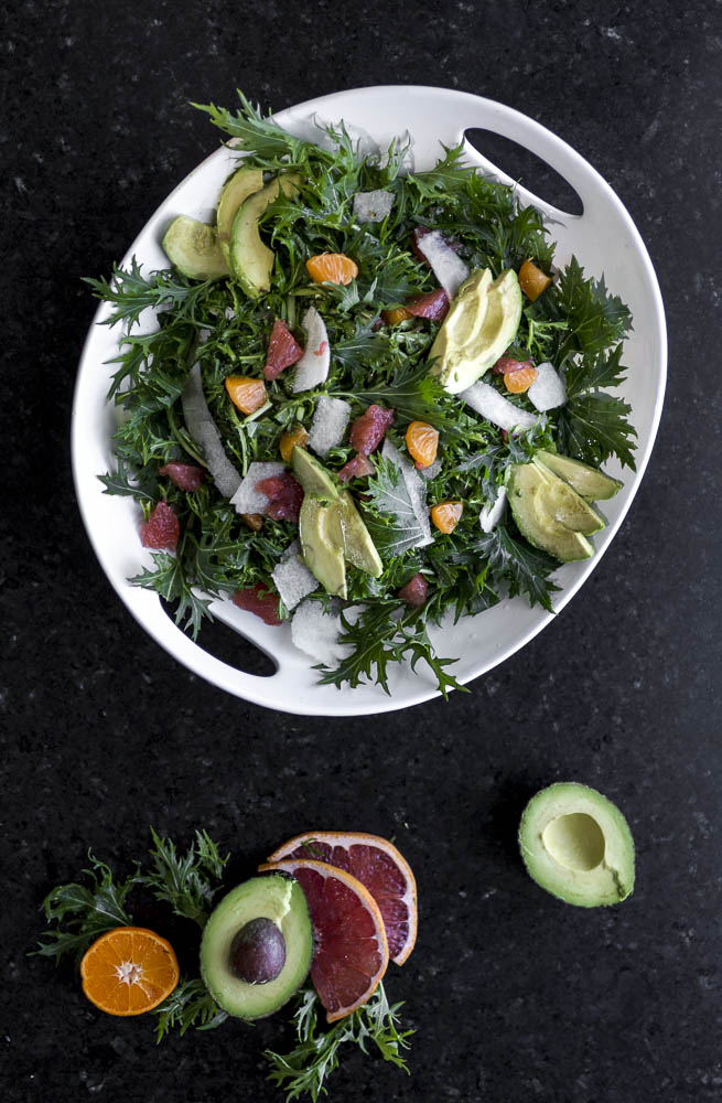 Mizuna Citrus Salad w/ avocado and jicama