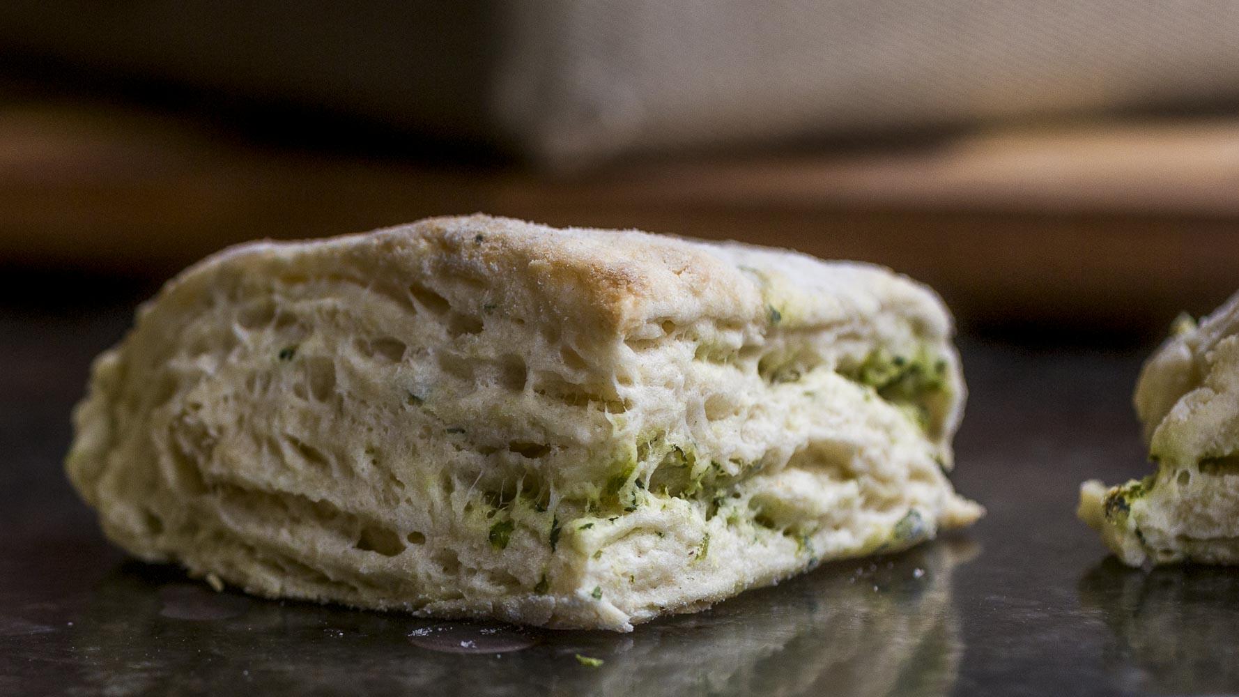close up of a savory pickle brine biscuit aka tender vegan scones