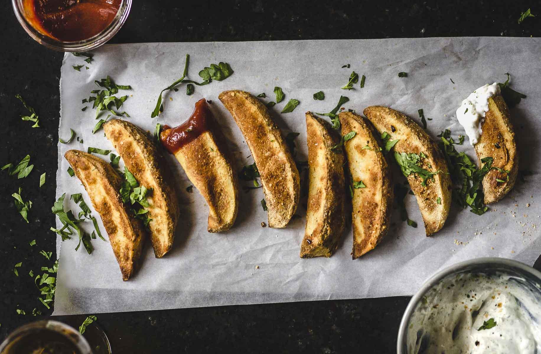 Jo-Jos ! gluten free, shiitake mushroom, crispy, baked potato wedges