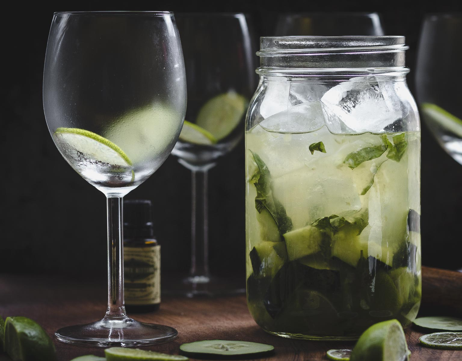 waiting to shake Garden Gimlet: gin gimlet w/fresh cucumber, lime, & basil