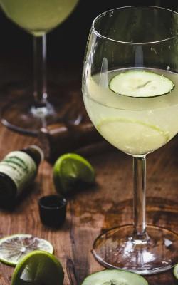 Garden Gimlets: gin gimlet w/fresh cucumber, lime, & basil