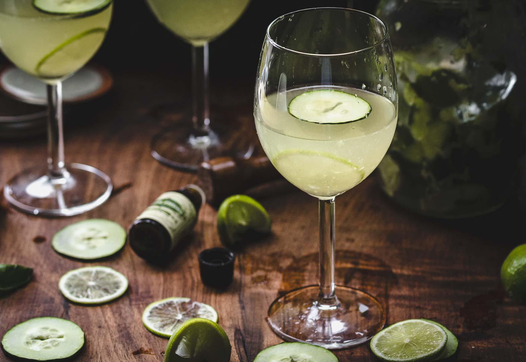 Garden Gimlet: gin gimlet w/fresh cucumber, lime, & basil