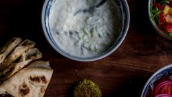 overhead shot of Tomatillo Tzatziki- raita, or just call it yogurt sauce