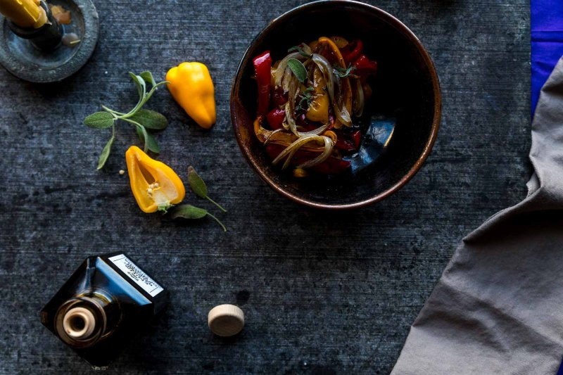 balsamic roasted sweet peppers and onions with fresh sage