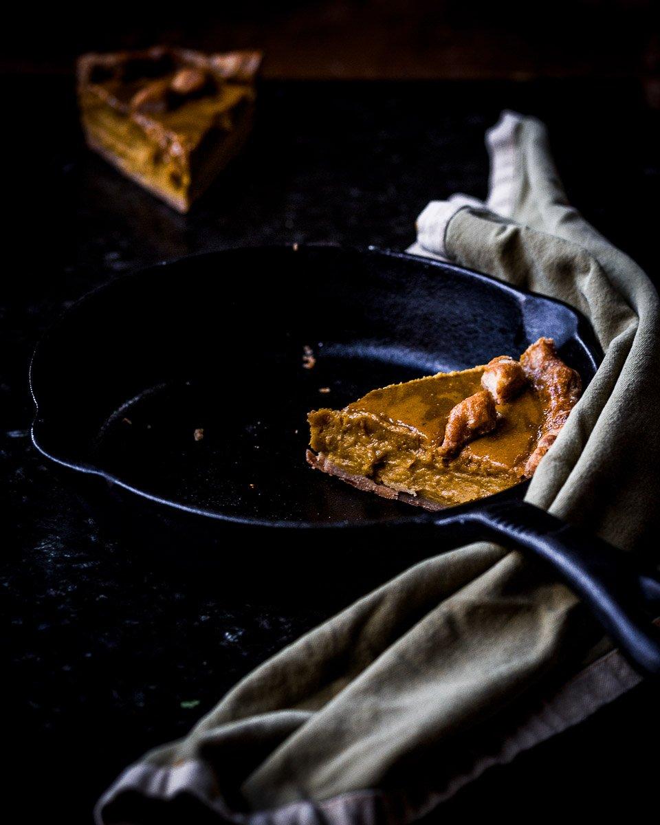 long piece of cast iron winter squash pie