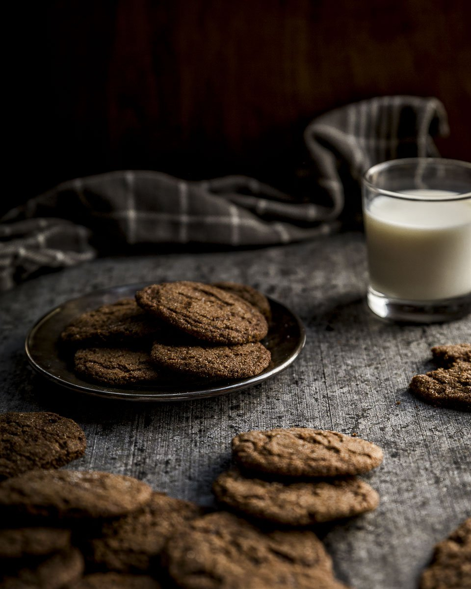 Gingersnap Cookies  served with milk for dunking