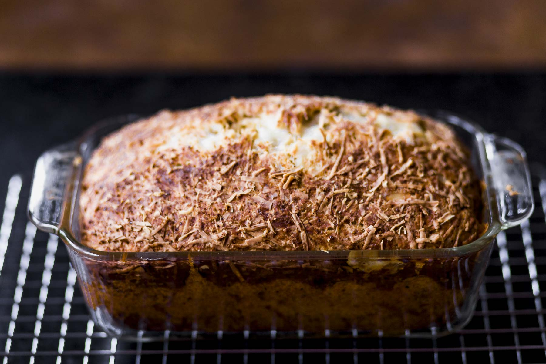 quick cheese bread with sharp cheddar and parmesan, deliciously golden and fresh from the oven