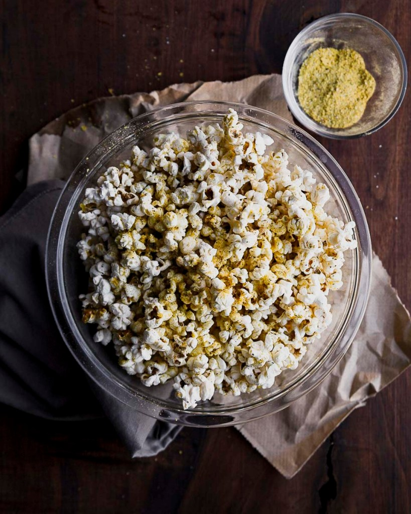 overhead shot of my favorite popcorn with nutritional yeast and ghee