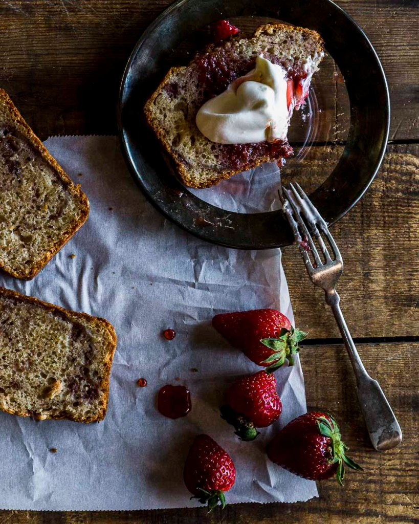 Strawberry Cider Quick Bread w/ fresh strawberries and balsamic topped with real whipped cream