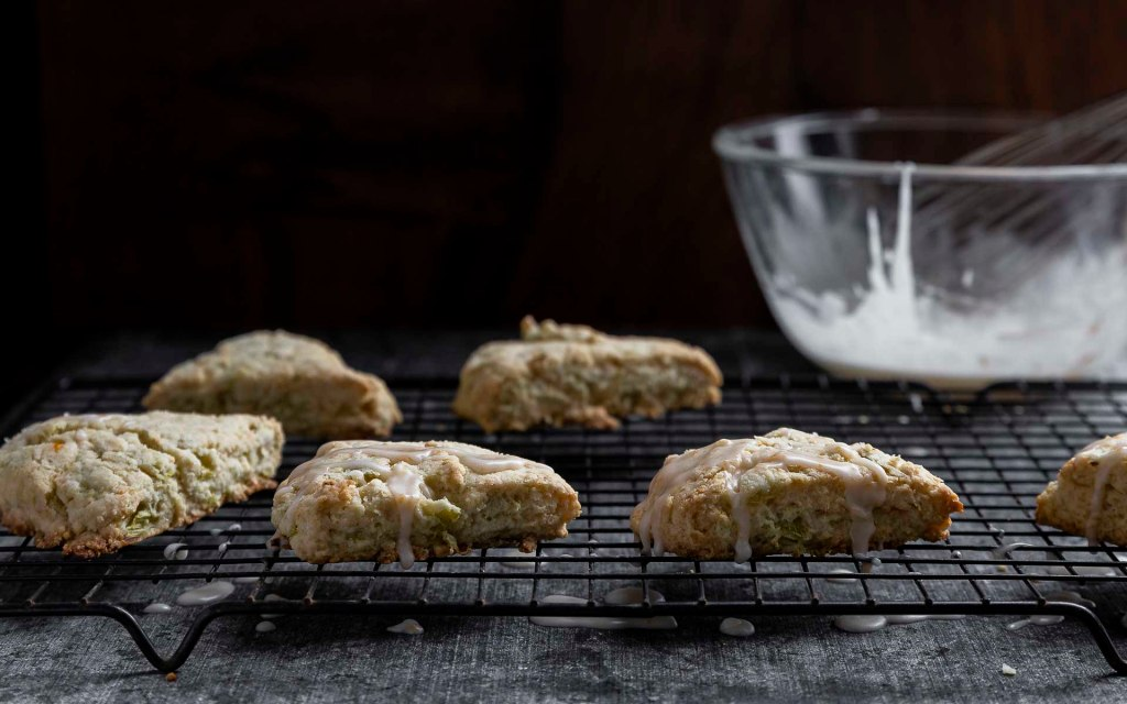 rhubarb cream scones on cooling rack