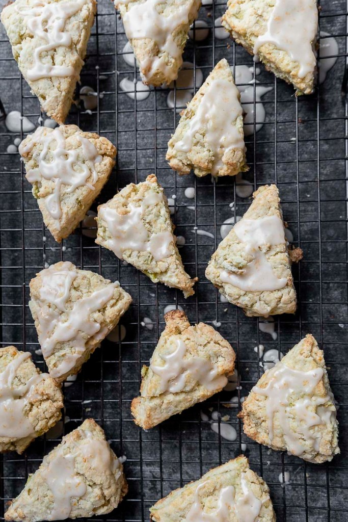 overhead shot of Rhubarb Cream Scones with fresh grapefruit glaze