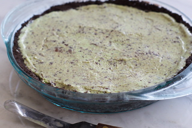 Mint Chocolate Chip Grasshopper Pie Assembly