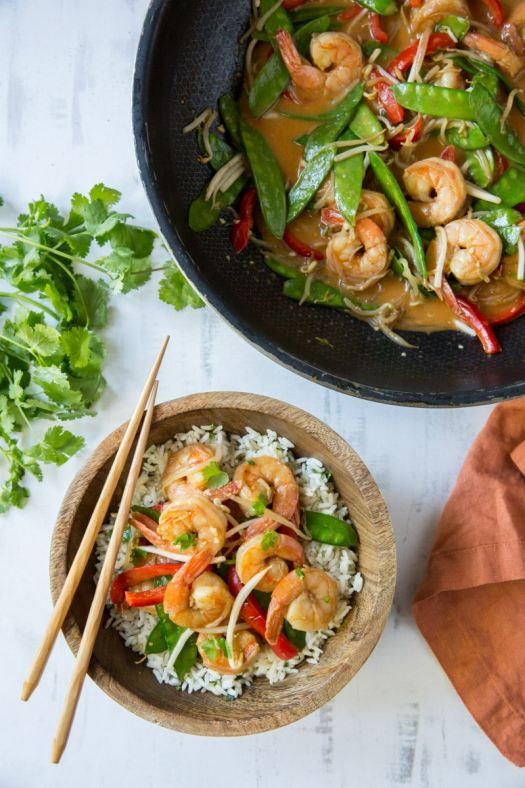 Serving Coconut Curry Stir Fried Shrimp