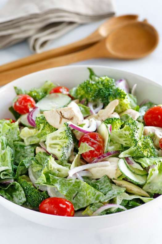 Bowl of Romaine and Broccoli Salad