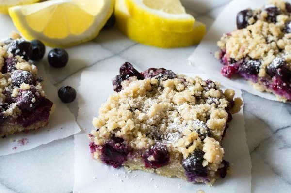 Blueberry Lemon Crumb Bars - recipe from RecipeGirl.com
