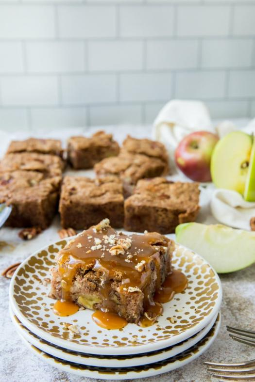 Apple Cake topped with Hot Caramel Rum Sauce