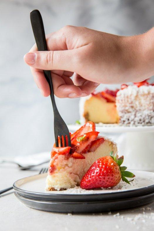 bite of Strawberry Coconut Cheesecake
