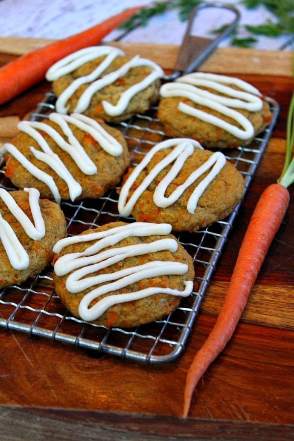 Carrot Cake Cookies with Cream Cheese Frosting - RecipeGirl.com