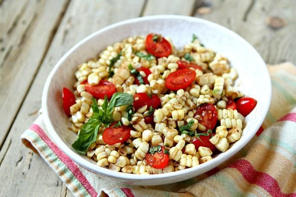Fresh Corn and Tomato Salad with Balsamic Basil Dressing