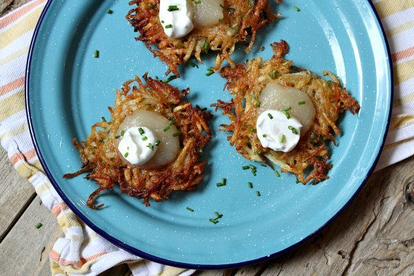 Old Bay Potato Latkes recipe - from RecipeGirl.com