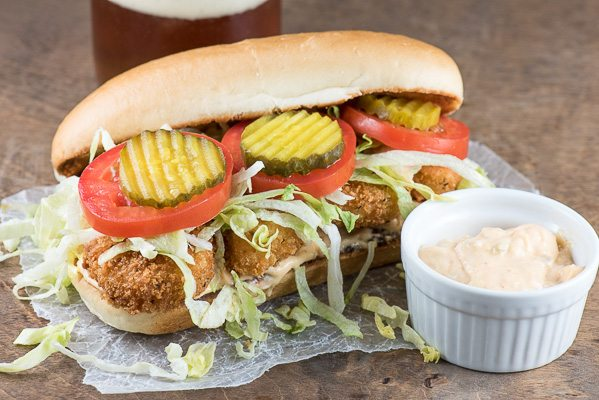 Shrimp Po Boy sandwich recipe - from RecipeGirl.com