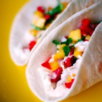 Fish Tacos with Mango  Salsa and Cilantro Lime