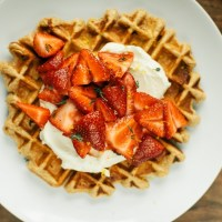 Whole Wheat Belgian Waffles with Mascarpone, Thyme and Strawberries