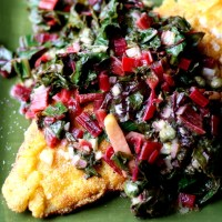 Cornmeal-Crusted Catfish with Greens and Mustard Vinaigrette