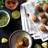 Spicy Indian Potato Balls with Fresh Coriander Chutney