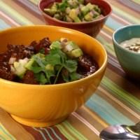 Beef & Black Bean Chili w/ Cumin Crema & Avocado Relish