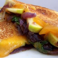 Apple, Kale and Cheddar Melt with Red Onion-Rosemary Marmalade