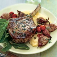 Veal Chops with Roasted Shallots, Arugula and Soft Polenta