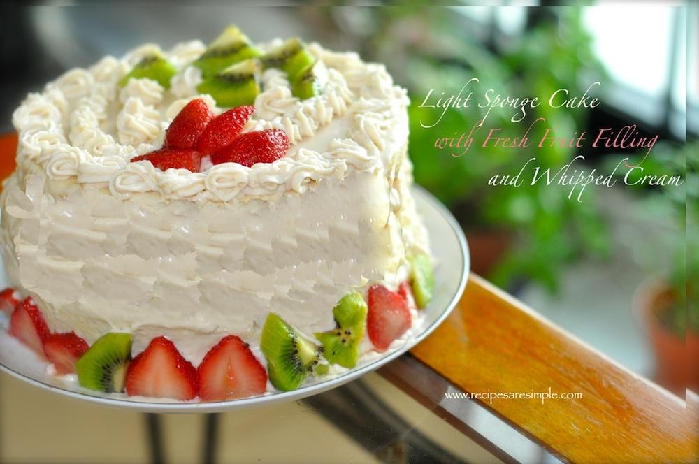 Sponge Cake with Fresh Fruit and Whipped Cream