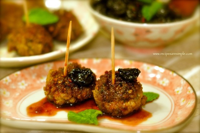 meatballs with sweet and sour cheery sauce