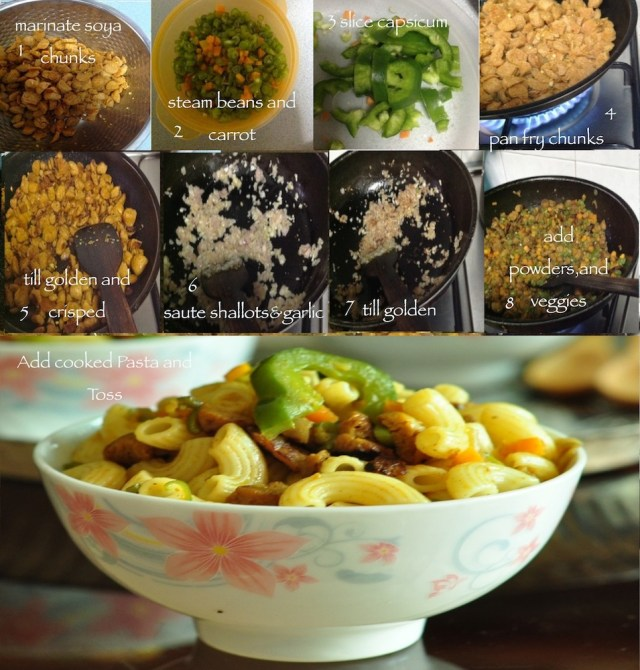 pasta with soya chunks steps