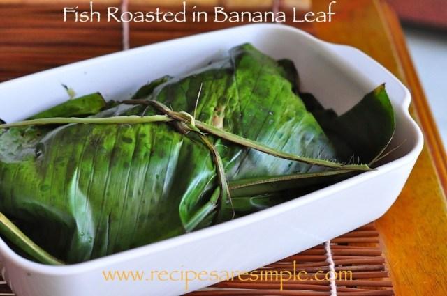 fish roasted in banana leaf