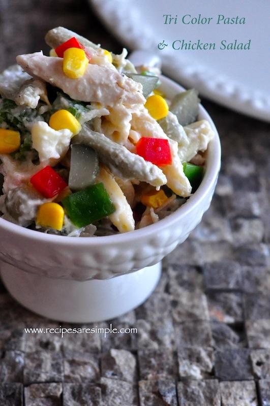 pasta and chicken salad tricolor