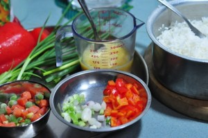 ingredients for lunch box fried rice