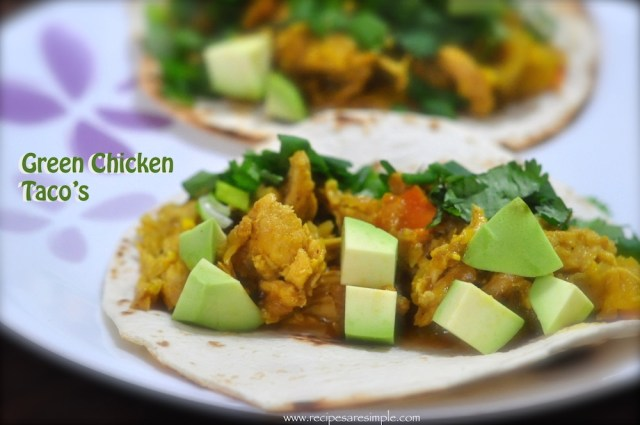 green chicken taco