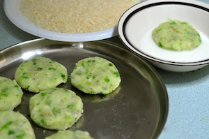 aloo tikki burger - dip lightly or brush with cornflour solution
