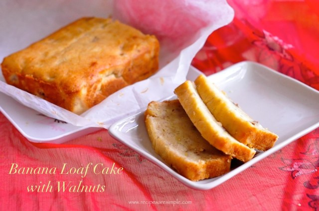 Banana Cake - Banana Loaf Cake with Walnuts